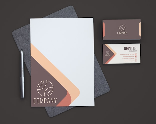 Showroom stationery desde arriba