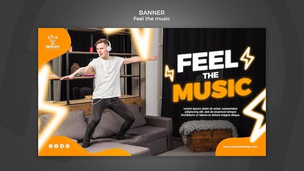 Sienta la plantilla de banner de concepto de música