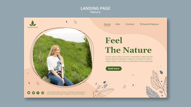 Siente la plantilla de página de aterrizaje de la naturaleza