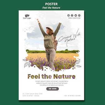 Siente la plantilla del póster de la naturaleza