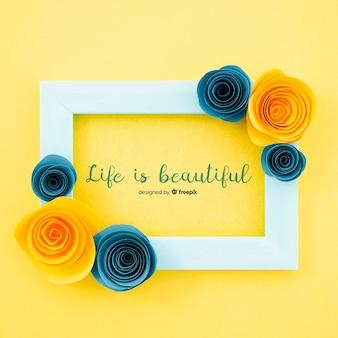 Sier bloemenframe met motiverend citaat