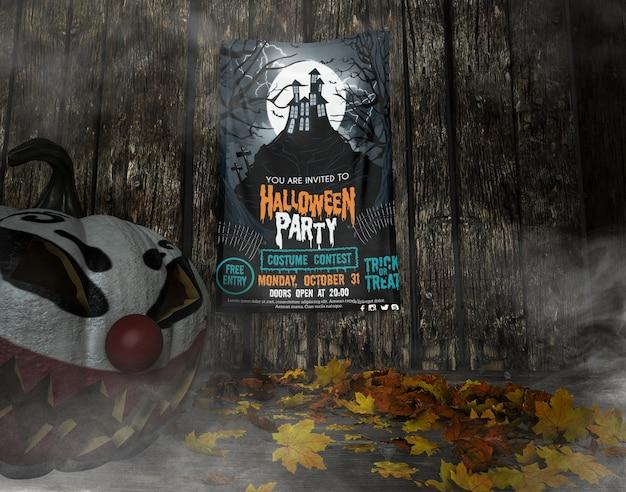 Siete invitati al mock-up della cornice della festa di halloween