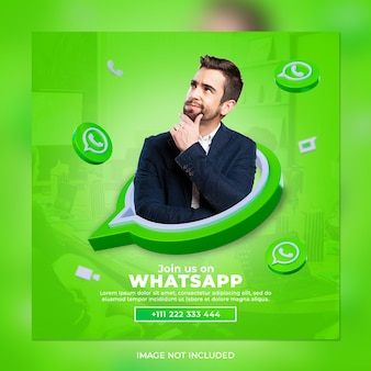 Síganos en el banner cuadrado de las redes sociales de whatsapp con el logotipo 3d y el cuadro de perfil de enlace