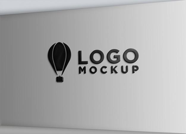 Sign wall black effect logo mock up