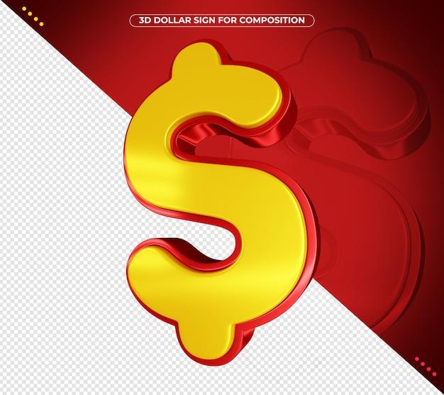 Signo de dólar 3d para composición aislada