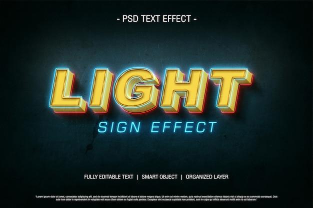 Signo de luz de efecto de texto psd