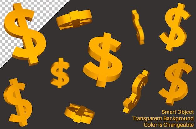 Signo volador de moneda dólar usd en estilo 3d