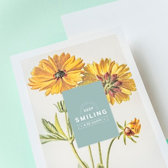 Sigue sonriendo maqueta de tarjeta de felicitación