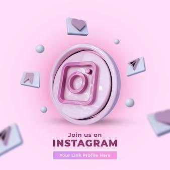 Síguenos en instagram banner cuadrado de redes sociales con logo 3d