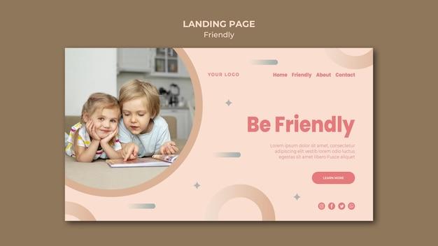 Sii amichevole modello di pagina di destinazione