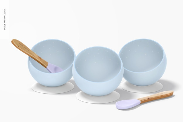 Silicone baby bowls mockup, vooraanzicht