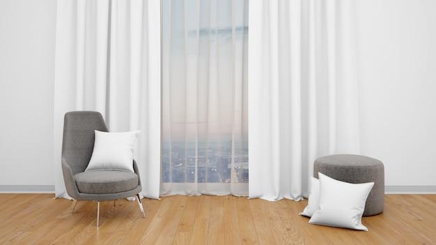Silla moderna junto a un gran ventanal con vistas a la ciudad.
