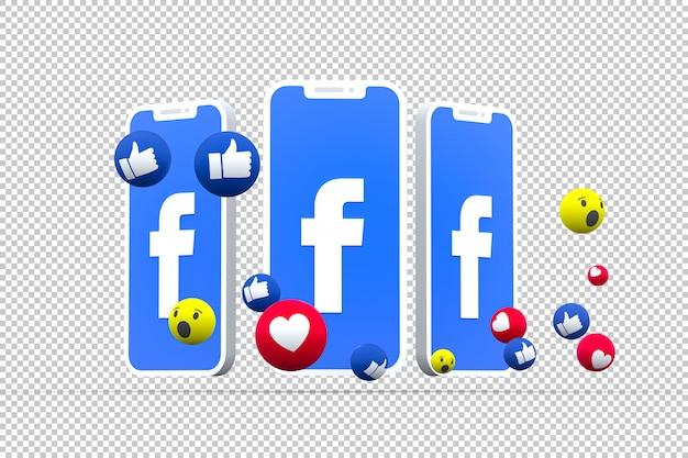 Símbolo de facebook en la pantalla del teléfono inteligente o móvil y reacciones de facebook amor, wow, como emoji 3d render