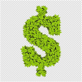 Símbolo hecho de hojas verdes