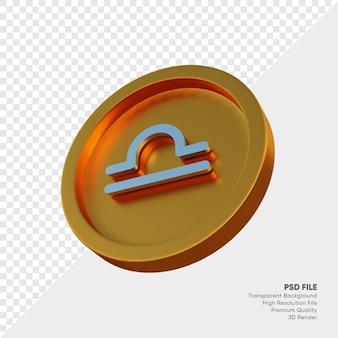 Símbolo del horóscopo del zodiaco de libra en la ilustración 3d de la moneda de oro
