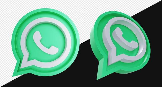 Símbolo de icono de signo de whatsapp realista 3d con color verde y aislamiento de formas de chat