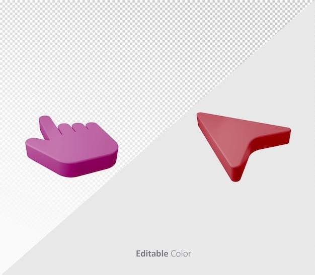 Símbolo de puntero de cursor 3d o plantilla psd de icono con color editable