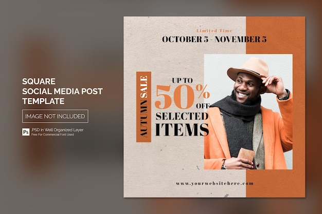 Simple square social media post of banner template voor fashion sale-promotie