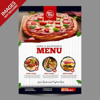 Simple vintage food menu zwart wit en rood combinatie
