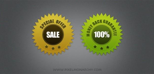 Simples pegatinas de ventas psd insignias