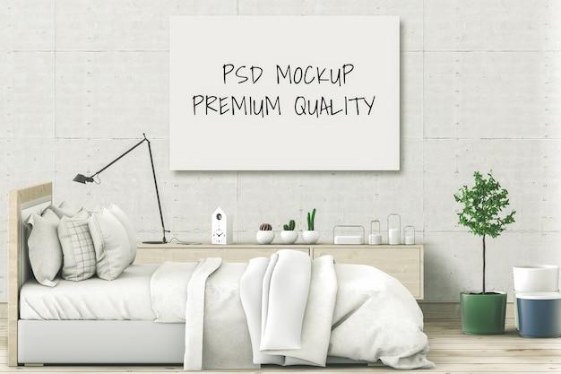Simulacros de cartel en blanco habitación interior de la cama. render 3d