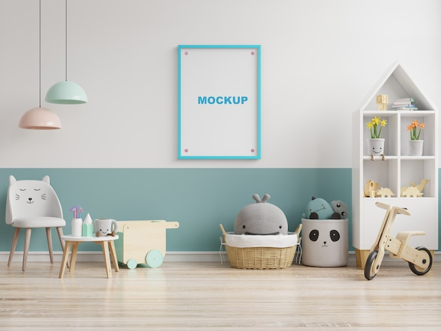 Simulacros de carteles en el interior de la habitación del niño, carteles en la pared blanca vacía, representación 3d