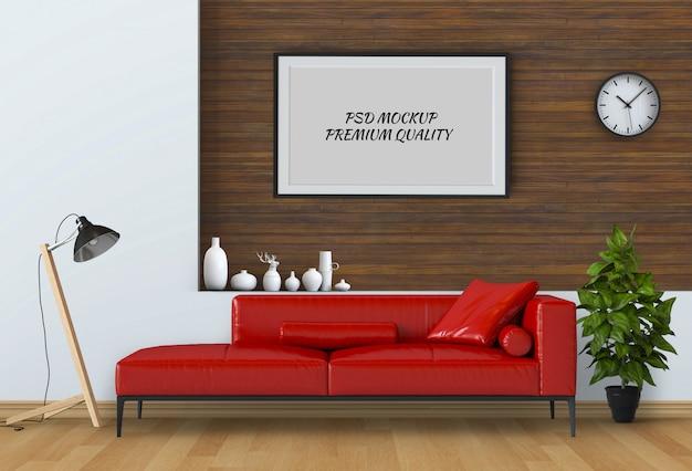 Simulacros de fotograma de póster en sala interior y sofá, render 3d