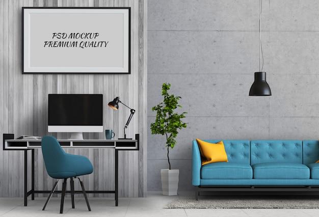Simulacros de fotograma de póster en sala de trabajo y sofá, render 3d