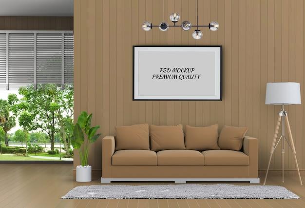 Simulacros de fotograma de póster en salón interior y sofá, render 3d