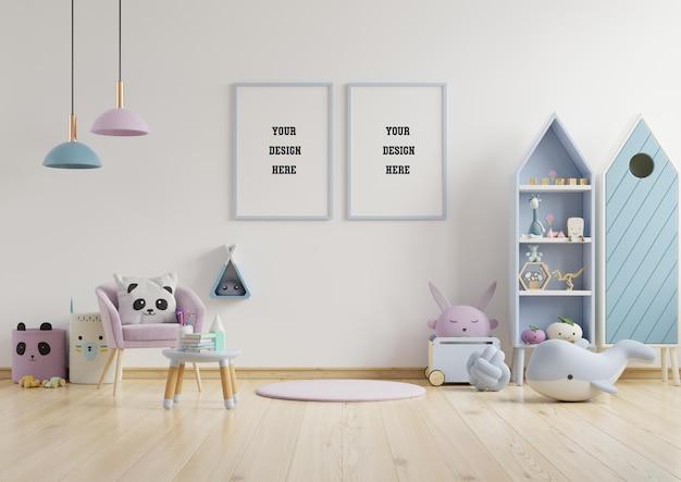 Simulacros de marco de póster en la habitación de los niños, la habitación de los niños, la maqueta de la guardería, la pared blanca, la representación 3d