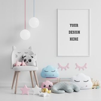 Simulacros de marco de póster en la habitación de los niños, la habitación de los niños, la maqueta de la guardería