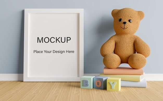 Simulacros de marco de póster con lindo oso de peluche para una representación 3d de baby shower de niño