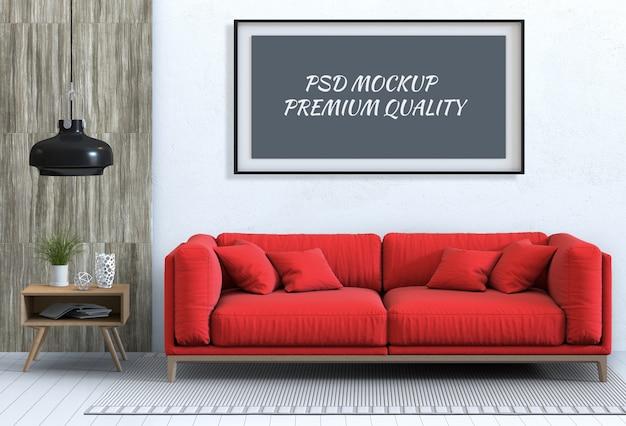 Simulacros de marco de póster en sala de estar interior y sofá