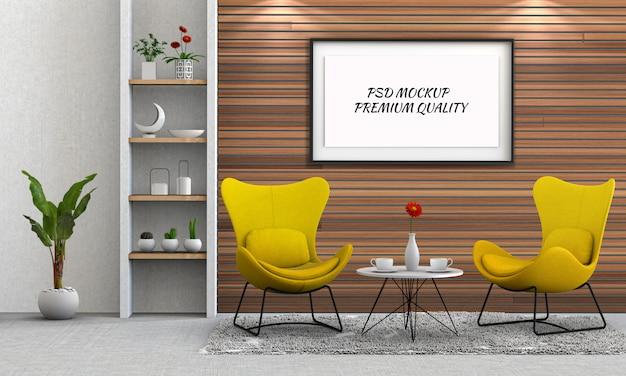 Simulacros de marco de póster en salón interior y silla