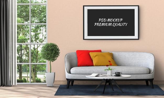 Simulacros de marco de póster en salón interior y sofá.