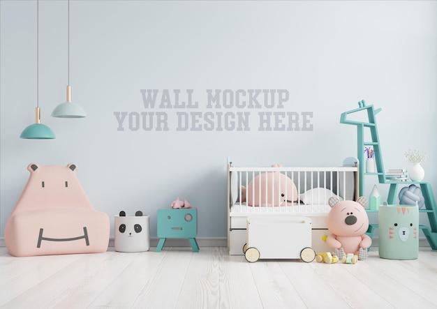 Simulacros de pared en la habitación de los niños con sofá rosa en la pared de color azul claro, representación 3d