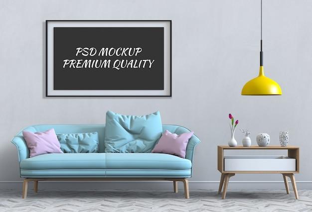 Simulacros de póster en el interior de la sala de estar y el sofá