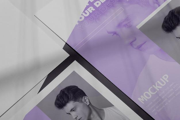 Simulacros de vista superior de superposición de sombras de folleto