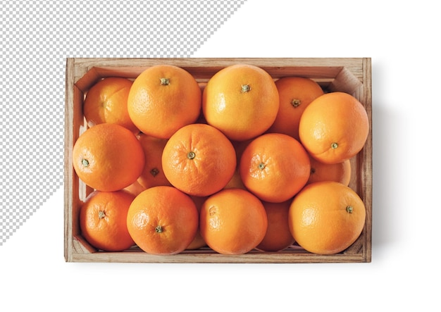 Sinaasappelen in een doos hoge weergave, sjabloon