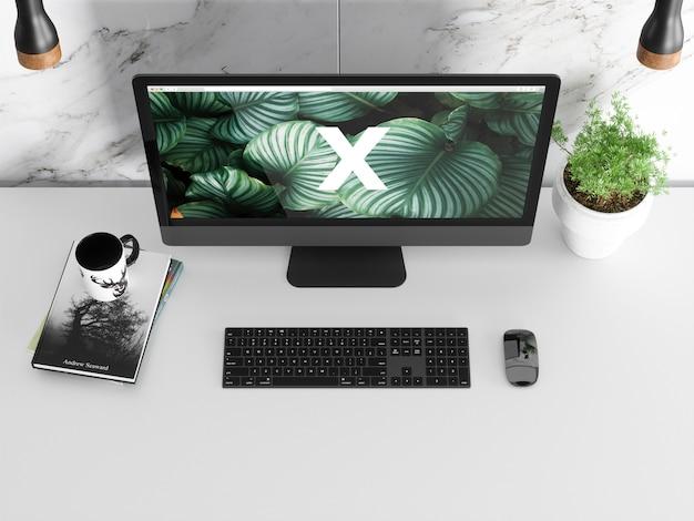 Single modern screen mockup sul tavolo