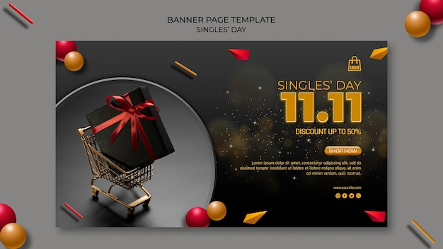 Singles day banner paginasjabloon