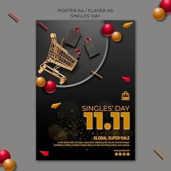 Singles day flyer-sjabloon