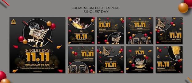 Singles day social media-sjabloon