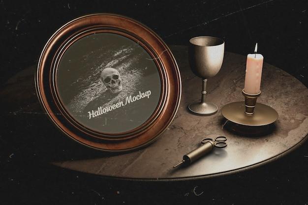 Siringa di medicina vintage e cornice rotonda di halloween con teschio