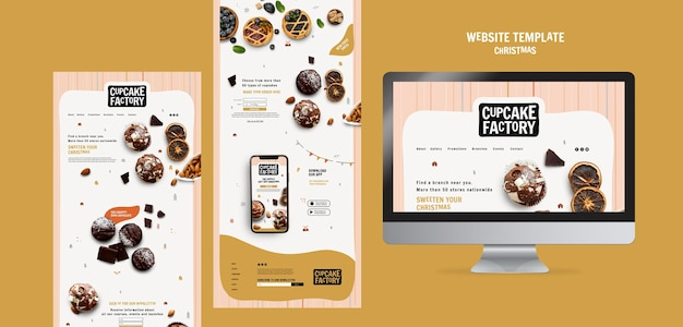 Sitio web de la fábrica de cupcakes navideños