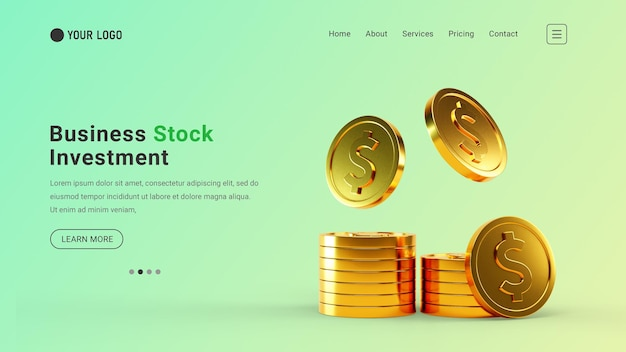 Sitio web de página de destino de inversión empresarial con concepto de moneda de dólar