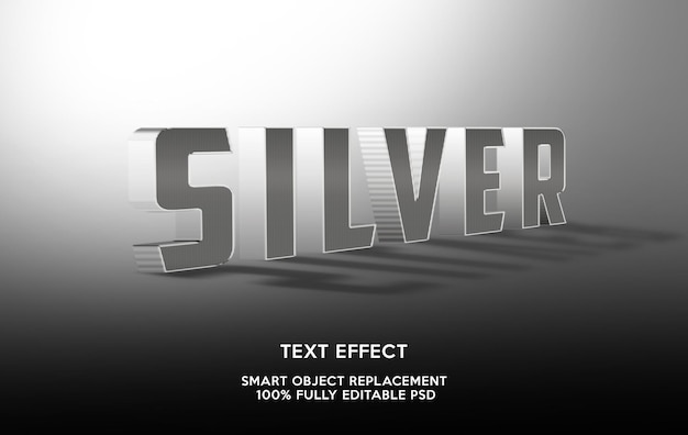 Siver teksteffectsjabloon