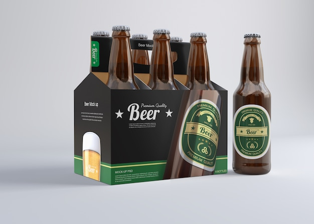 Six pack beer mockup
