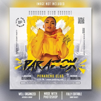 Sjabloon club night party-flyer
