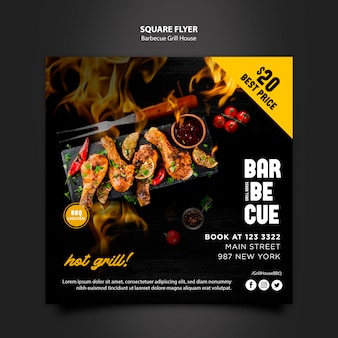 Sjabloon folder met barbecue thema